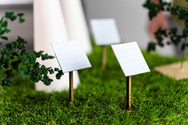 Вид спереди экологически чистого ветроэнергетического проекта