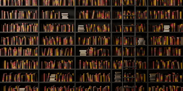 階段のあるエレガントな図書館の正面図