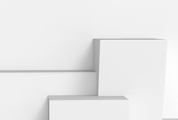白い壁の背景に空の棚やカウンターの正面図