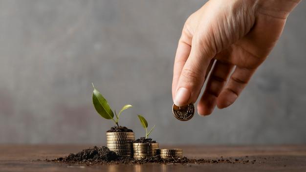 흙과 식물에 덮여 스택에 동전을 추가하는 손의 전면보기