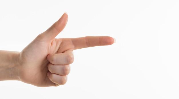 右向きの手の正面図