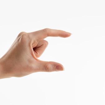 小さいサイズを示す手の正面図