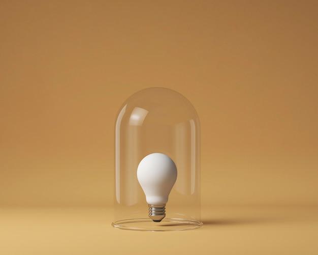 아이디어 개념으로 투명 유리로 보호되는 전구의 전면 보기