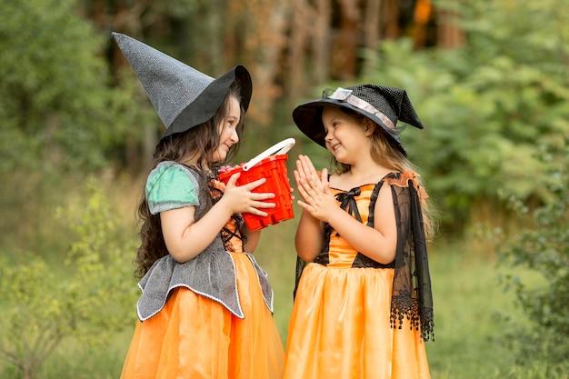 Вид спереди маленьких девочек на природе