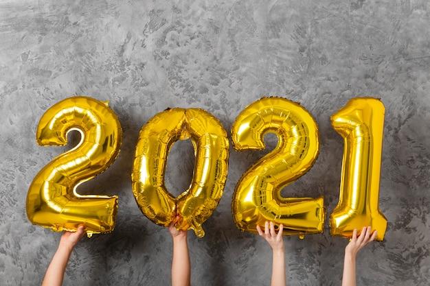 새 해 2021 개념의 전면보기