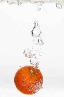 水中のオレンジの正面図