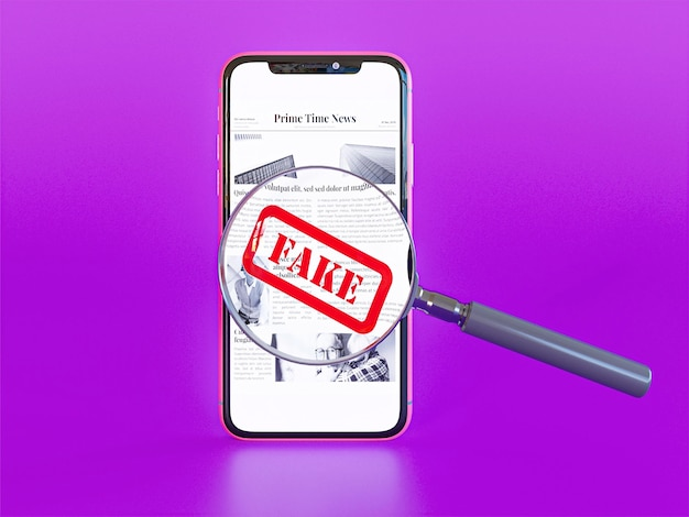 가짜 뉴스와 돋보기가있는 스마트 폰의 전면보기