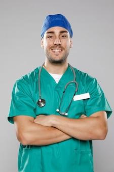 Вид спереди смайлик мужского врача
