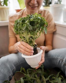 植物の鍋を保持しているスマイリー女性の正面図