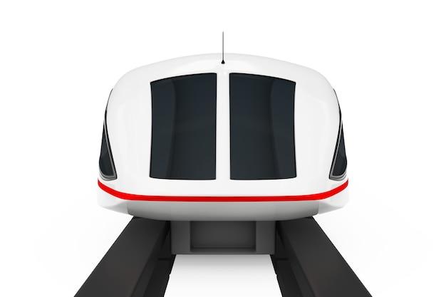 Вид спереди супер высокоскоростного футуристического пригородного поезда на белом фоне. 3d рендеринг