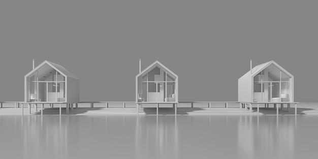 호수 옆에 늘어선 barnhouse 스타일의 여러 시골 주택의 전면 외관의 전면 모습. 복사 공간이있는 저녁 따뜻하고 차가운 조명이있는 회색 톤의 컨셉 아트