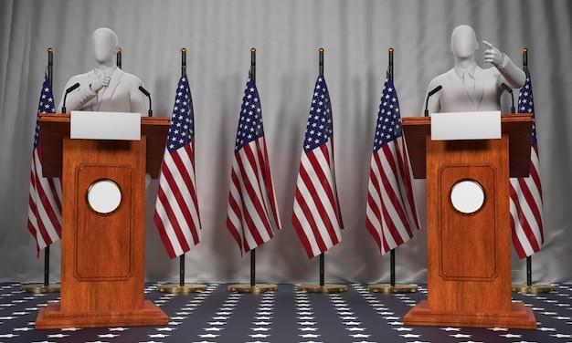 Вид спереди двух трибун с американскими флагами и кандидатами на выборы в сша