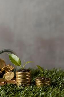 Вид спереди двух стопок монет на траве с банкой и копией пространства