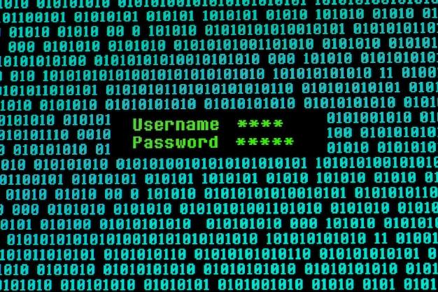 Вид спереди имени пользователя и пароля с двоичным кодом