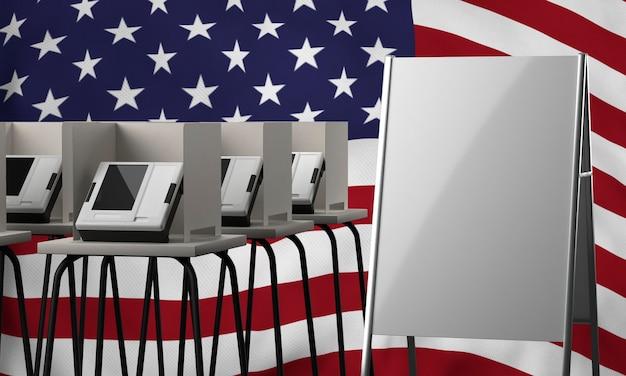 Кабины для голосования и пустой плакат для выборов в сша, вид спереди