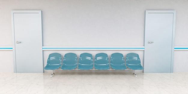 Вид спереди на стулья для ожидания в коридоре больницы с дверями по бокам
