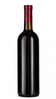 分離されたワインのボトルの正面図