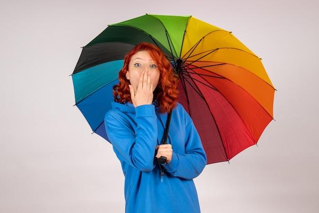 Вид спереди молодой женщины с красочным зонтиком на белой стене