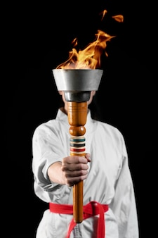 Front view olympic games torch