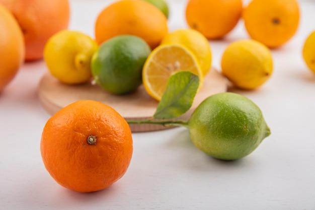 Vista frontale arancione con limette, limoni e pompelmi su un supporto Foto Gratuite