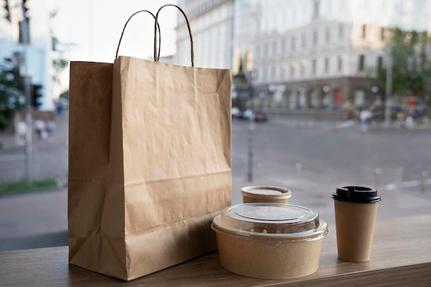 Front view of packed food prepared for takeaway