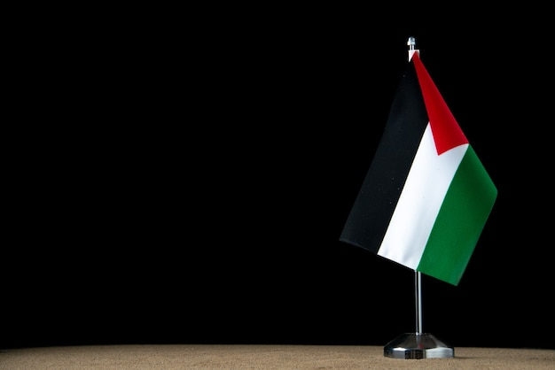 Front view of palestinian flag on dark