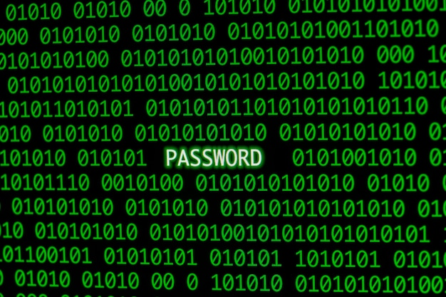 Front view of password with binary code