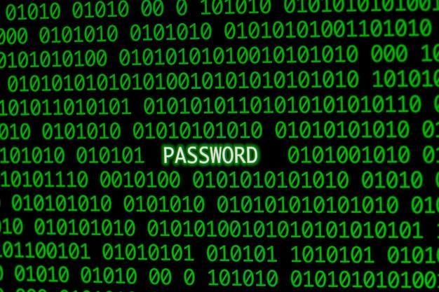 Vista frontale della password con codice binario