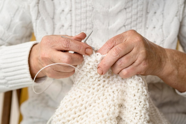 Front view of person crocheting