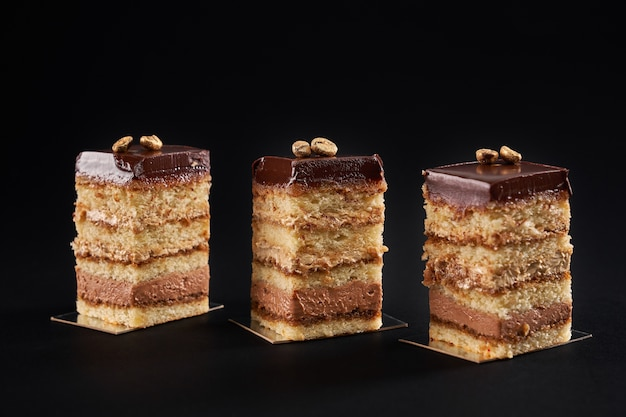Front view of pieces of fresh dessert layered with biscuit and cream isolated on black wall. closeup view of three square slices of sweet brown chocolate cake with glazed top and coffee seed.