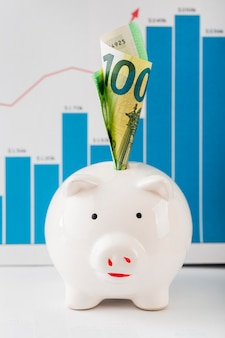 Front view of piggy bank and growth chart