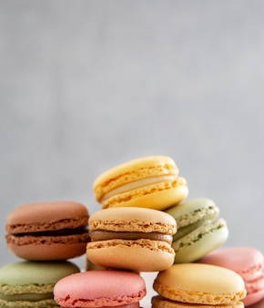 Front view pile of sweet macarons