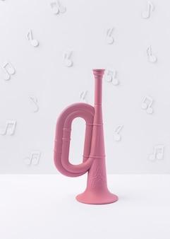Вид спереди розовый горн с музыкальными нотами