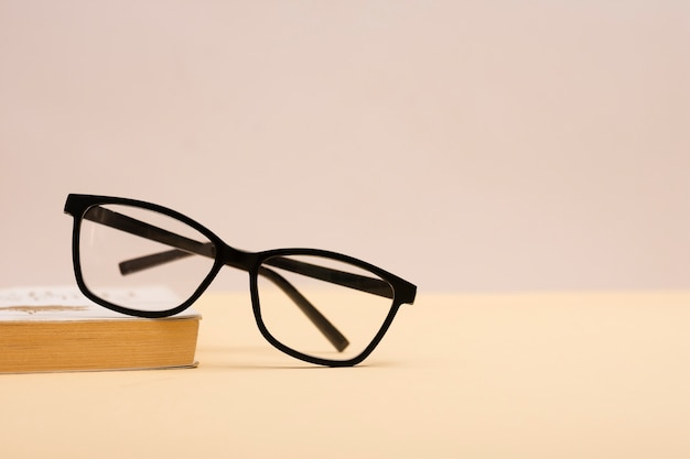 Front view plastic eyeglasses on a table