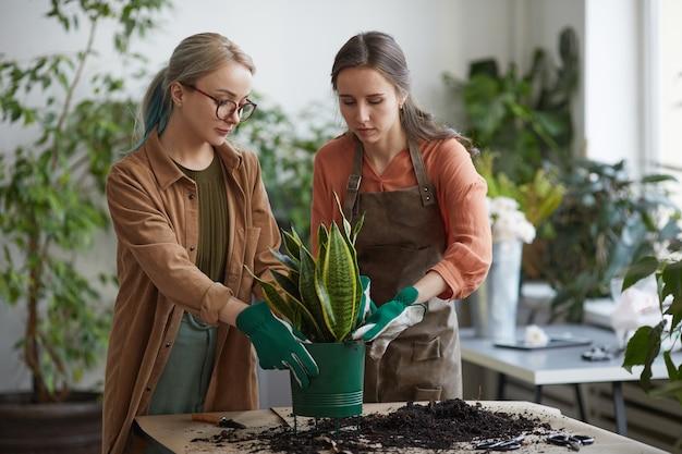 꽃집에서 일하거나 함께 정원을 가꾸면서 식물을 화분에 심는 두 젊은 여성 꽃집의 전면 초상화, 복사 공간