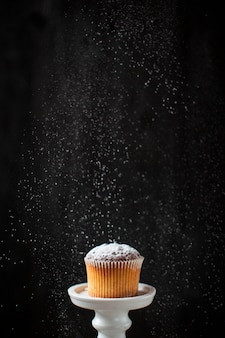 Front view powdered sugar poured over muffin