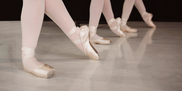 Front view of professional ballerinas rehearsing in pointe shoes