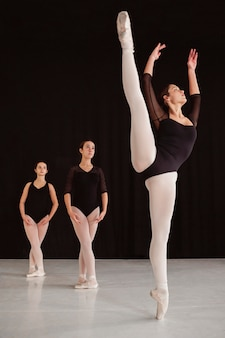 Front view of professional ballet dancers practicing together