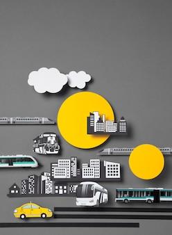 Disposizione dei trasporti pubblici vista frontale