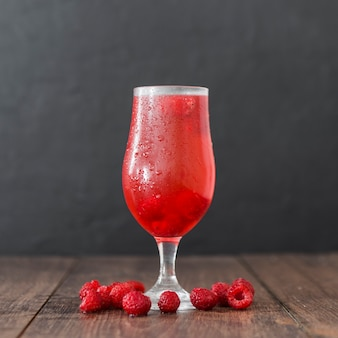 Front view of raspberry cocktail