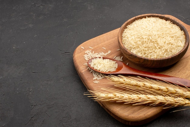 회색 공간에 접시 안에 전면보기 생 쌀