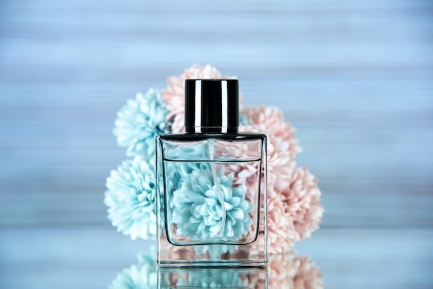 Front view of rectangle perfume bottle flowers