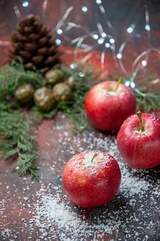Vista frontale mele rosse bastoncini di cannella in polvere di cocco su oscurità