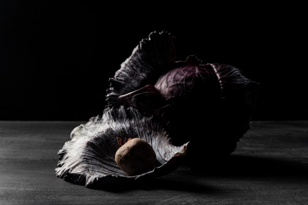 Front view red cabbage on table