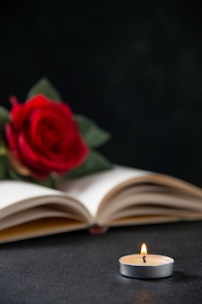 Front view of red flower with open book on dark