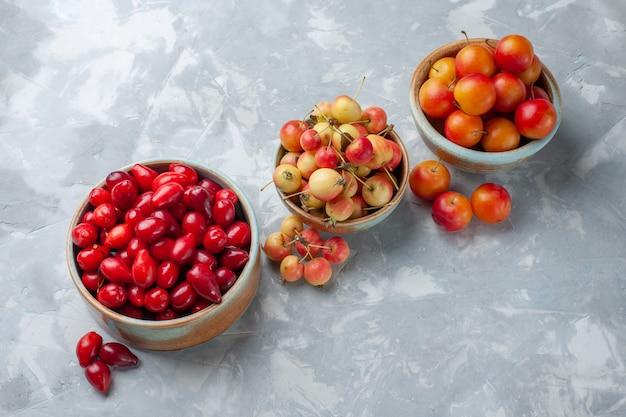 正面図赤い新鮮なハナミズキの酸っぱくておいしい果物を鍋の中に入れ、ライトデスクにさくらんぼを添えて果物の新鮮な酸っぱいまろやか