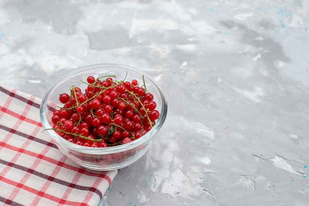 A front view red lingonberry inside round glass plate on the grey desk cranberry