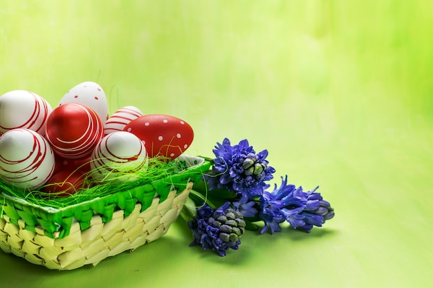 Front view of a red and white easter eggs in basket and purple hyacinth on green background.