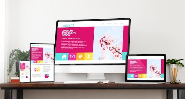 Вид спереди адаптивный потрясающий дизайн веб-сайт устройства домашний веб-сайт 3d-рендеринг