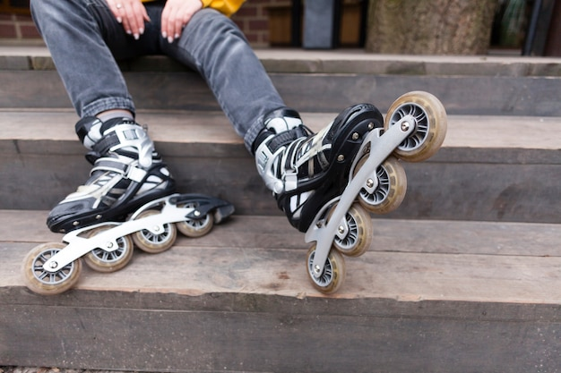 Front view of roller blades with stairs